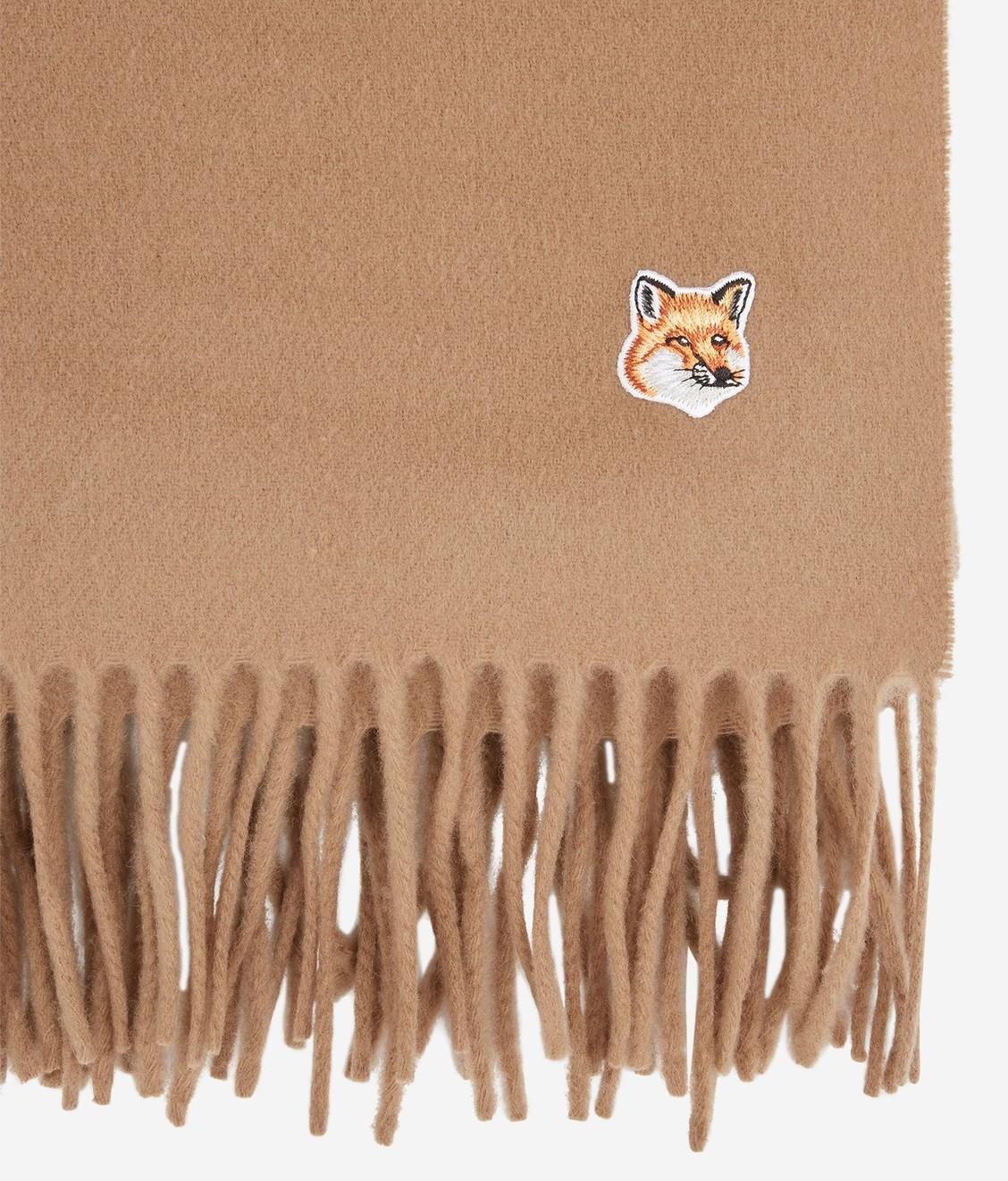 Maison Kitsune Kitsune Small Fox Head Wool Scarf Beige