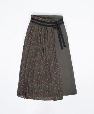 NEUL Neul Webbing Belt Pleats Layer Skirt Khaki