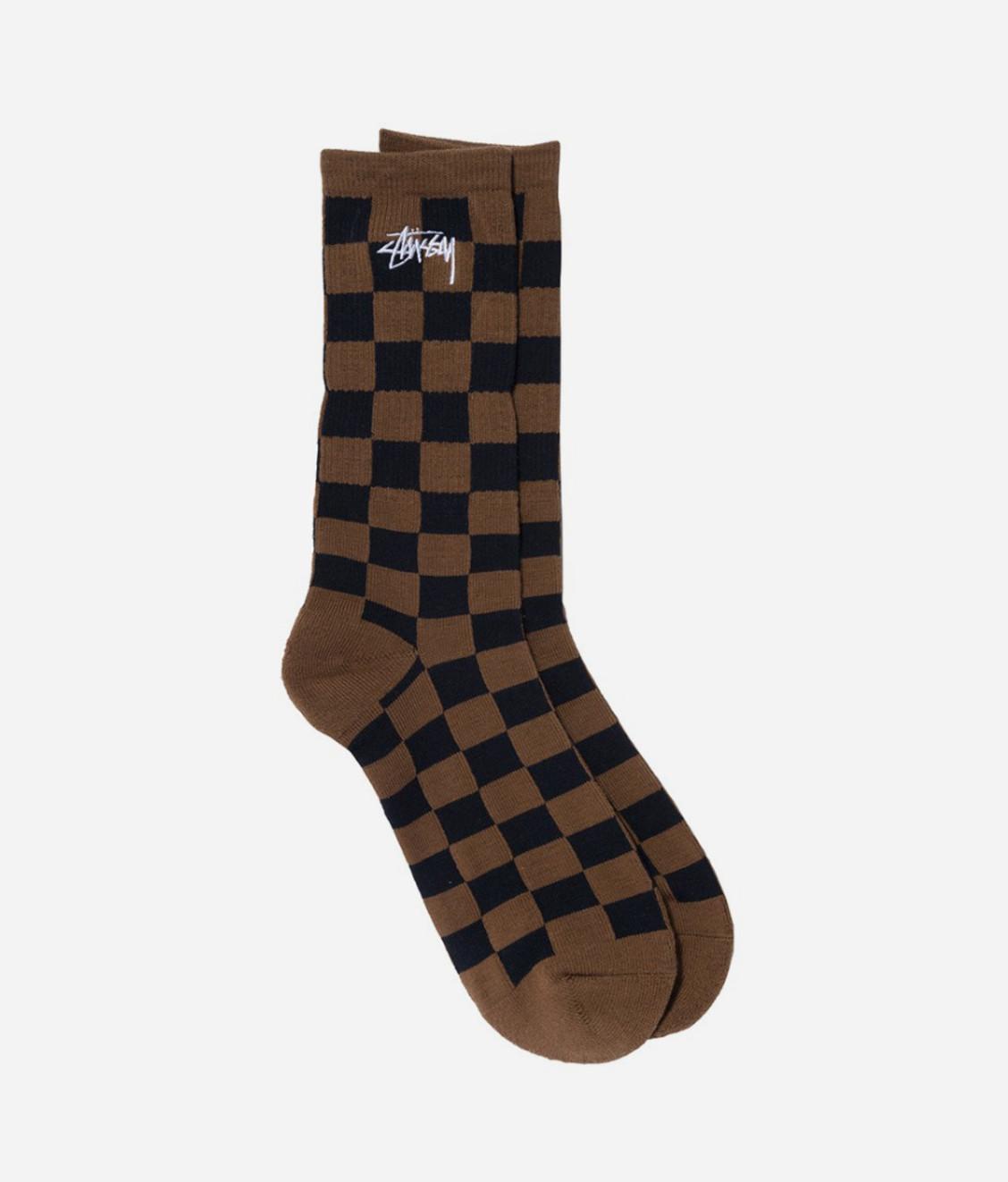 Stussy Stussy Checker Jacquard Socks Brown