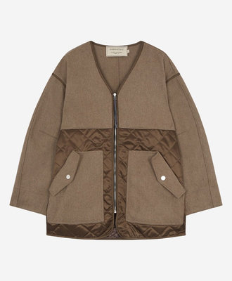 Maison Kitsune Kitsune Quilted Jacket Beige Brown