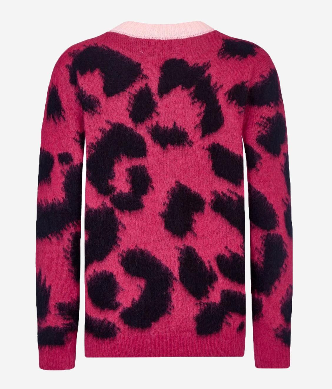 Etre Cecile Leopard Boxy Knit Bordeaux Black Pink