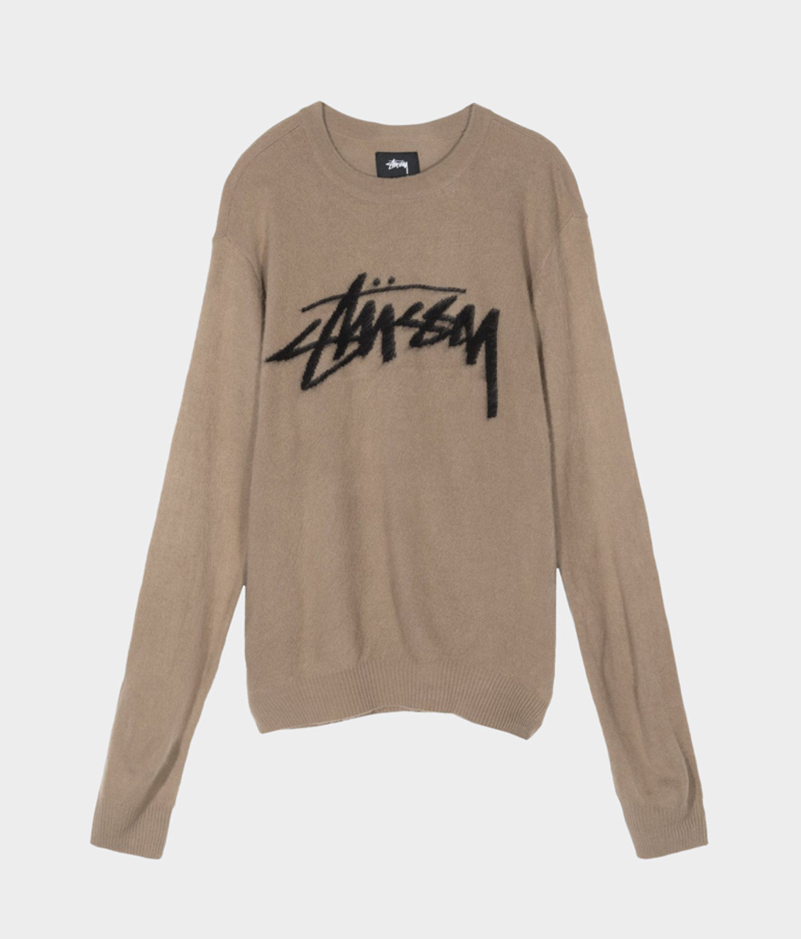 Stussy Stussy Brushed Out Logo Sweater Taupe