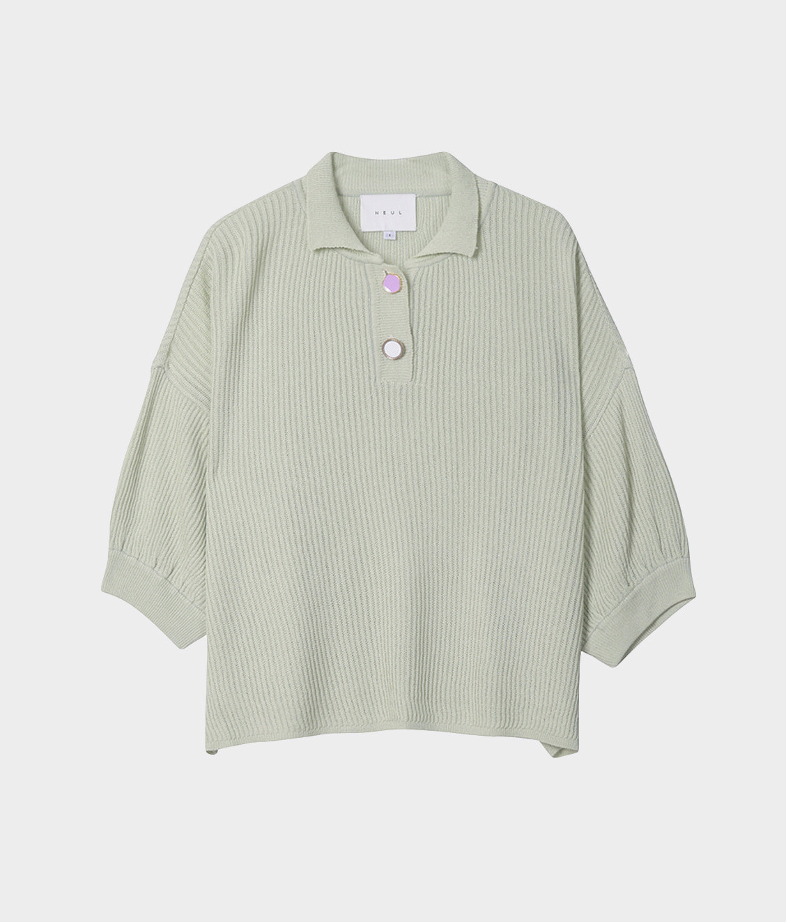 NEUL Neul Button Detail Pullover Knit Lime Cream