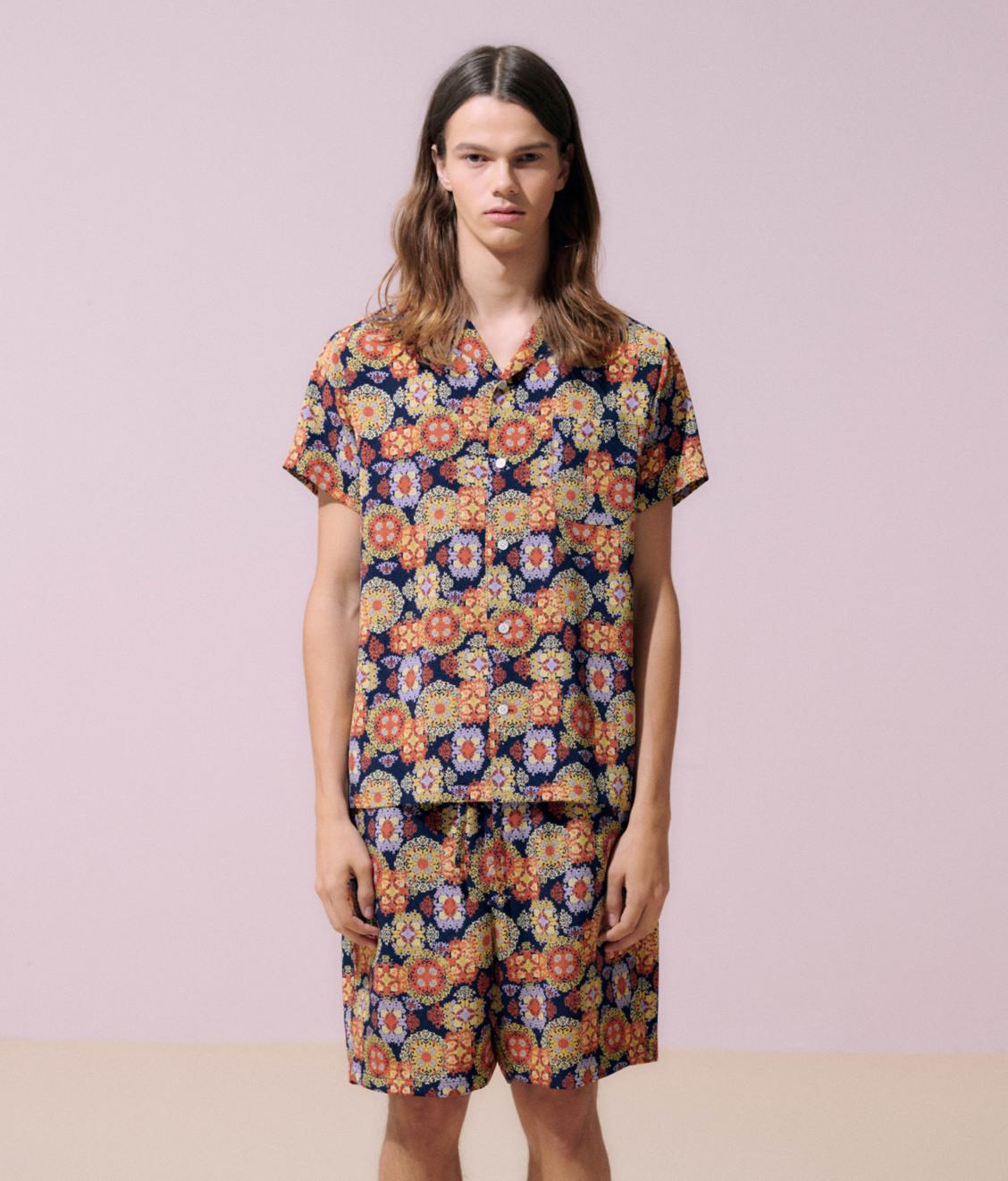 NEUL Neul Suzaani-pattern Shorts Navy