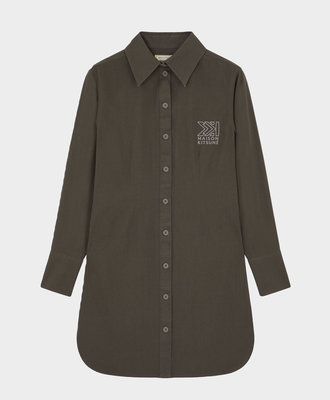 Maison Kitsune Maison Kitsune Fitted Shirt Dress Khaki