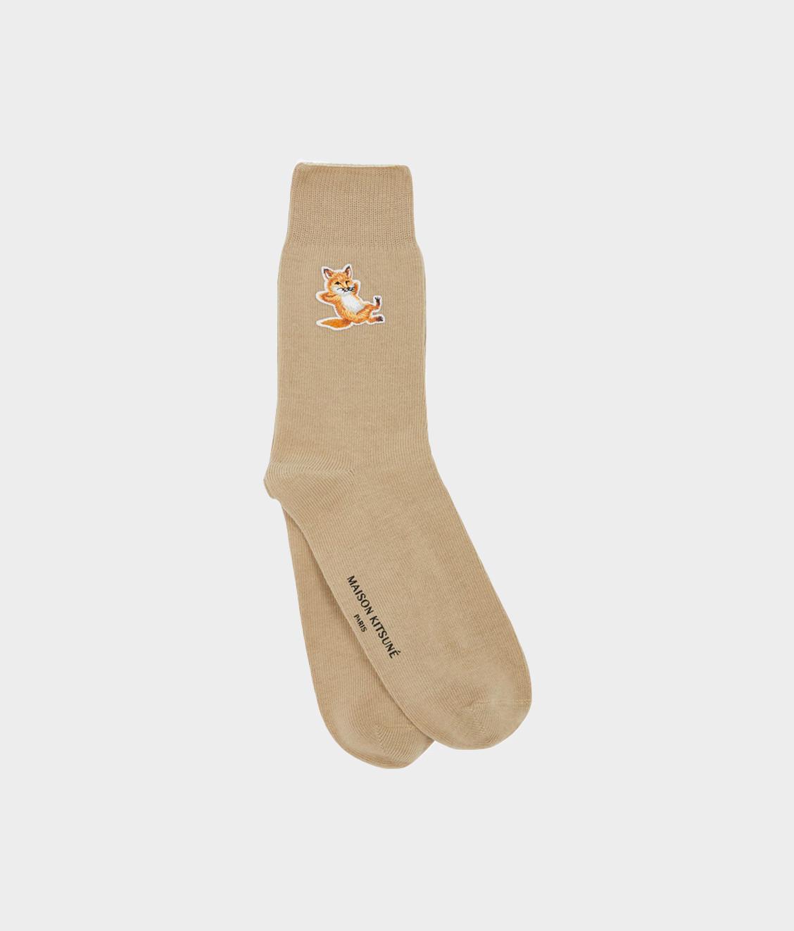 Maison Kitsune Maison Kitsune Chillax Fox Patch Socks Beige