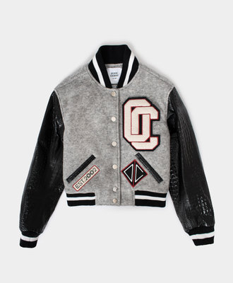 Opening Ceremony OC Cropped Varsity Jacket Melange Grey