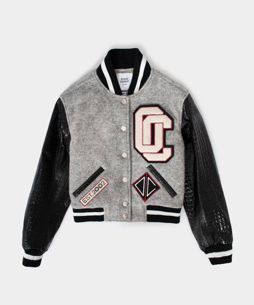 OC Cropped Varsity Jacket Melange Grey