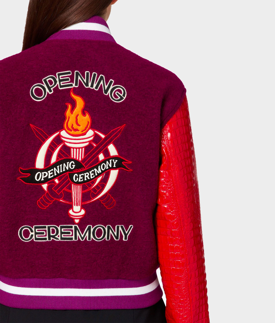 Opening Ceremony OC Cropped Varsity Jacket Dragon Red