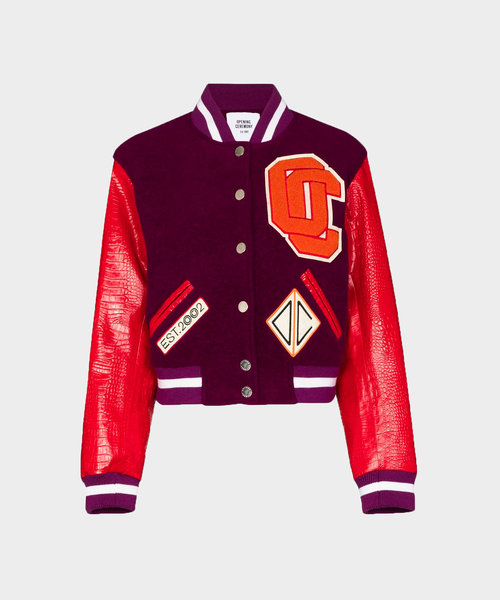 OC Cropped Varsity Jacket Dragon Red