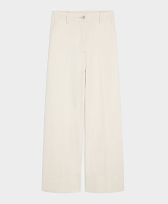 Maison Kitsune Kitsuné Large High Waisted Pants Ecru