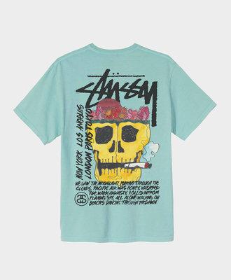 Stussy Stussy Smokin' Skull Pig. Dyed Tee Aqua