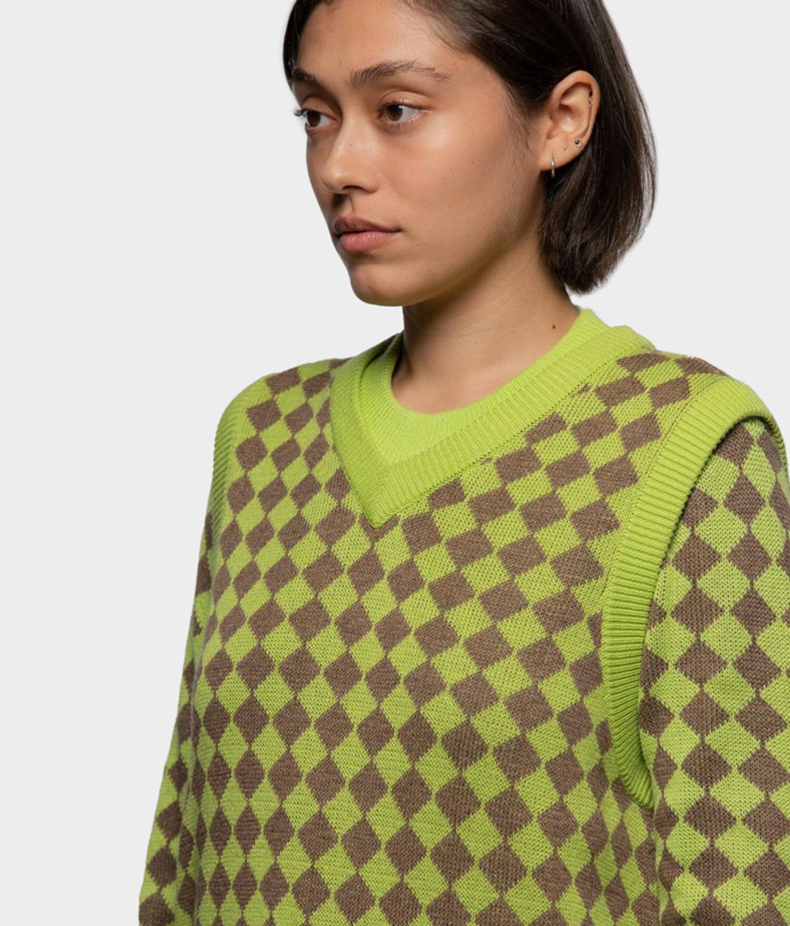 Stussy Stussy Melange Checker Sweater Vest Lime