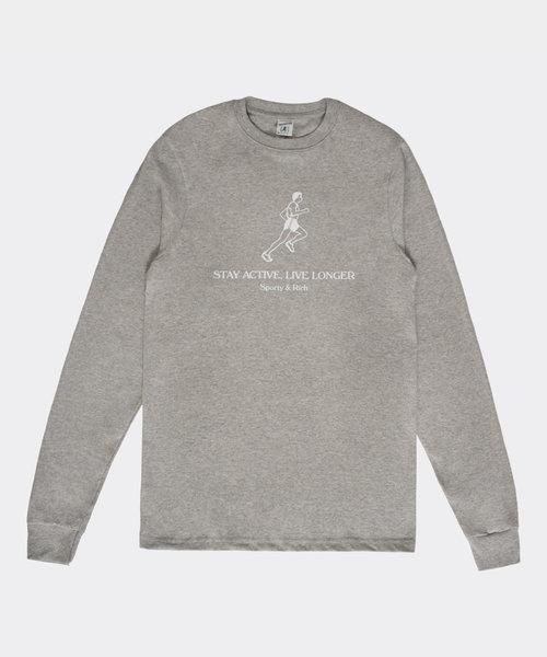 Sporty & Rich Live Longer LS Heather Gray