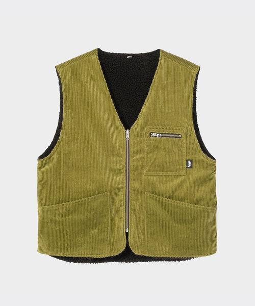 Stussy Wide Wale Reversible Vest Green