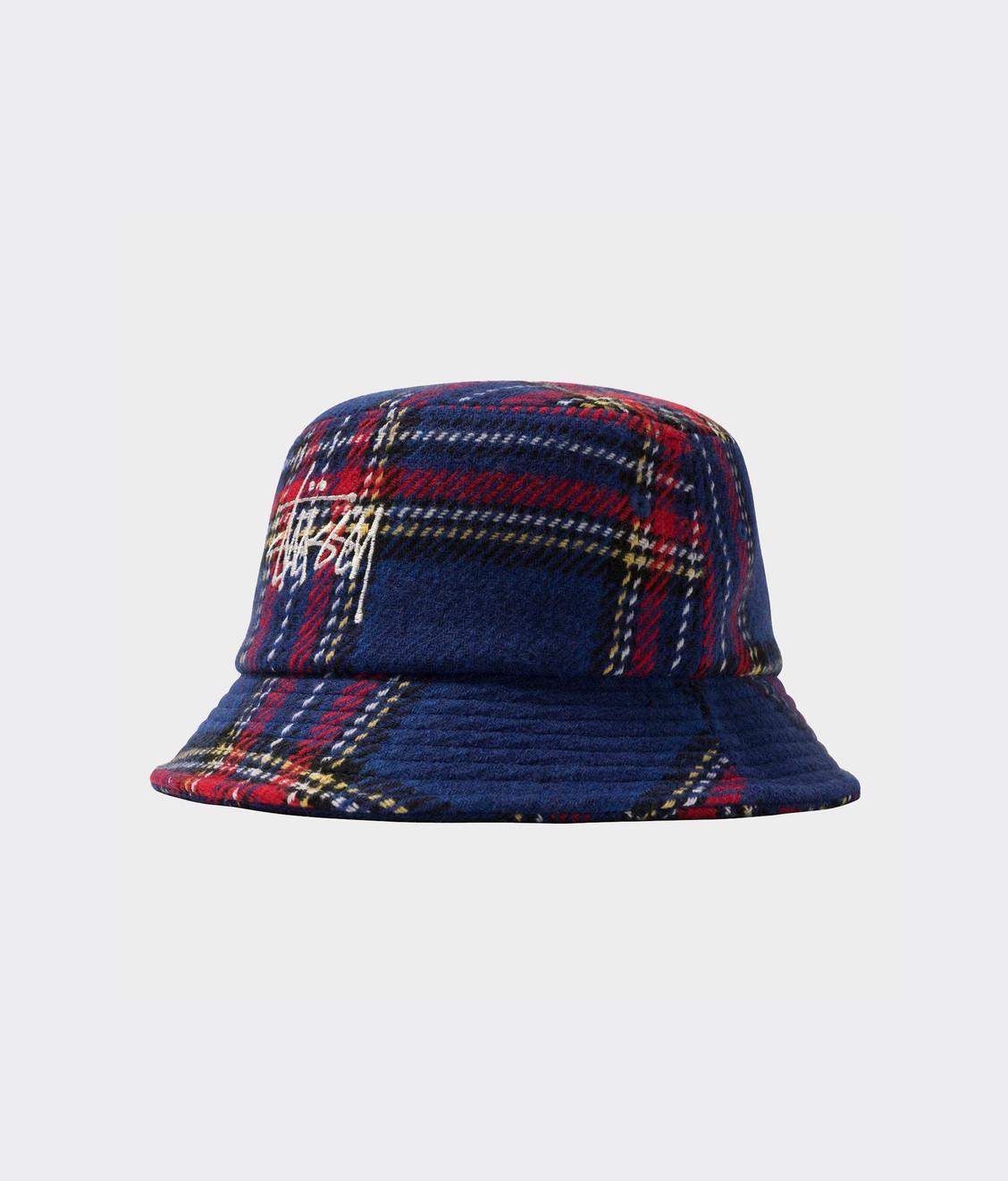 Stussy Stussy Big Logo Plaid Bucket Hat Blue