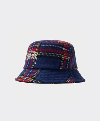 Stussy Stussy Big Logo Plaid Bucket Hat Blue