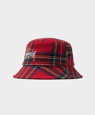 Stussy Stussy Big Logo Plaid Bucket Hat Red