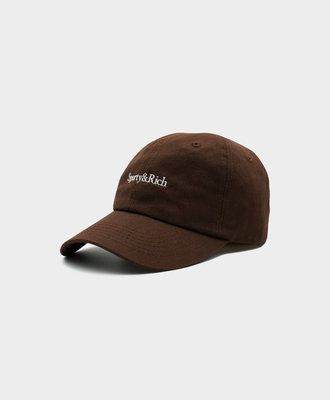 Sporty and Rich Sporty & Rich Serif Logo Hat Chocolate