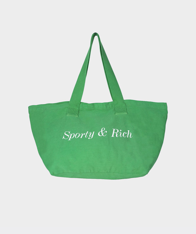Sporty and Rich Sporty & Rich Classic Logo Tote Pistachio