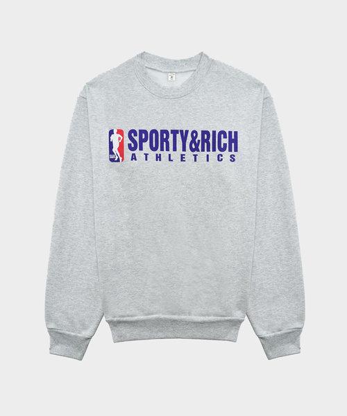 Sporty & Rich Team Logo Crewneck Heather Gray
