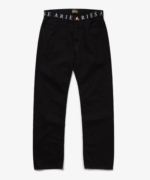 Aries Logo Print Waistband Lilly Jeans Black