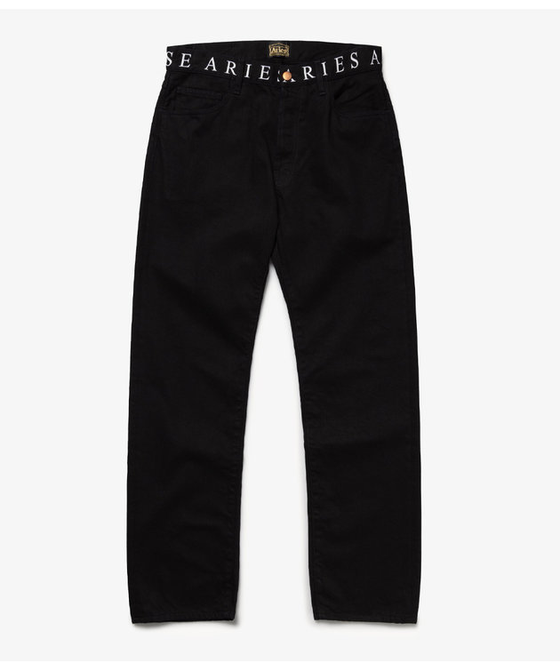Aries Aries Logo Print Waistband Lilly Jeans Black