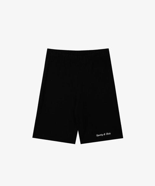 Sporty & Rich Classic Logo Biker Short Black