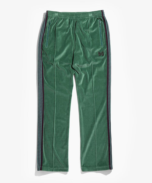 Needles Narrow Track Pant C/Pe Velour Green
