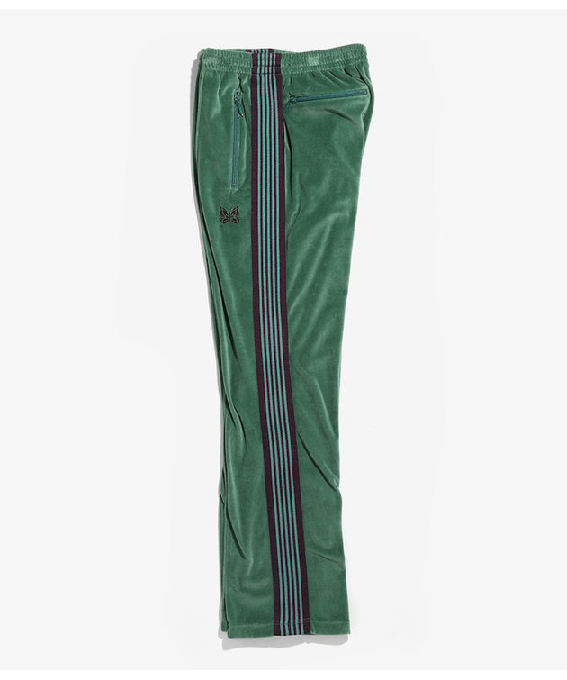 Needles Needles Narrow Track Pant C/Pe Velour Green