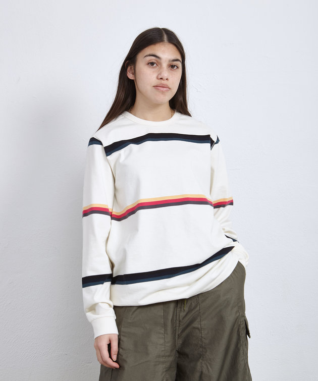 POP Trading Company POP Striped Longsleeve Tee Off White