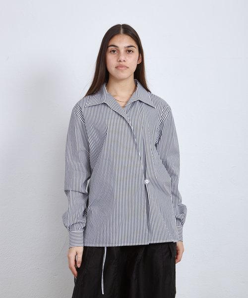 OC Box Logo Striped Wrap Shirt Optic White
