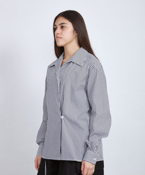 Opening Ceremony OC Box Logo Striped Wrap Shirt Optic White