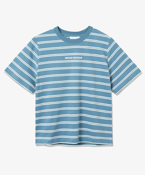 Wood Wood Alma Heavy T-Shirt Blue Stripes