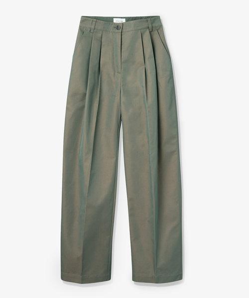 Wood Wood Sirid Iridescent Twill Trousers Olive