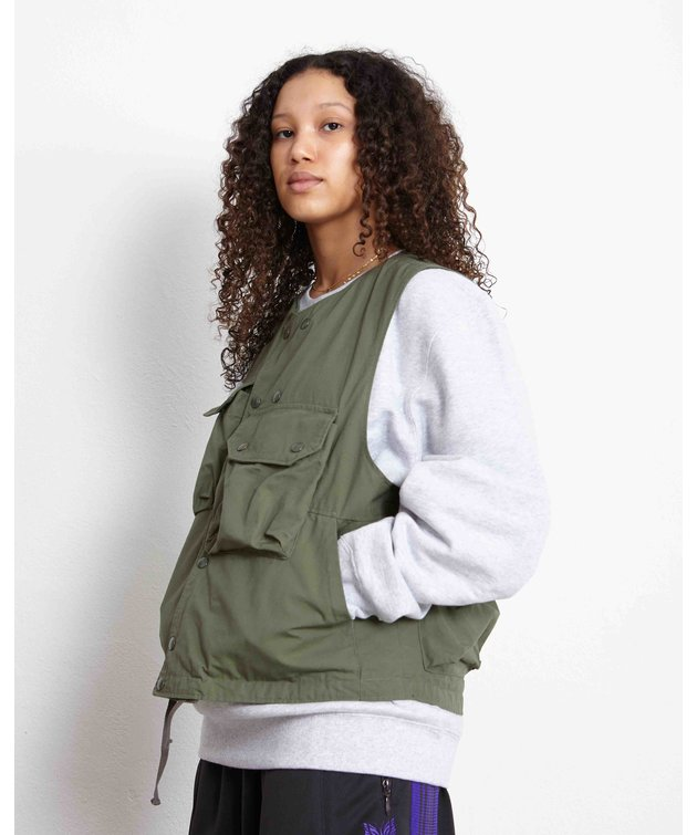 Engineered Garments EG Cover Vest Olive Cotton Ripstop