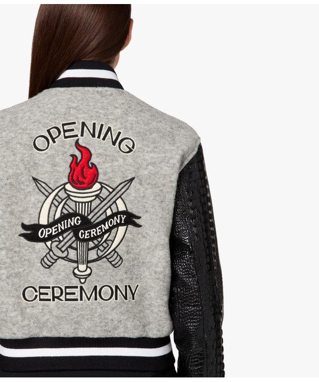 Opening Ceremony OC Cropped Varsity Jacket Melange Grey