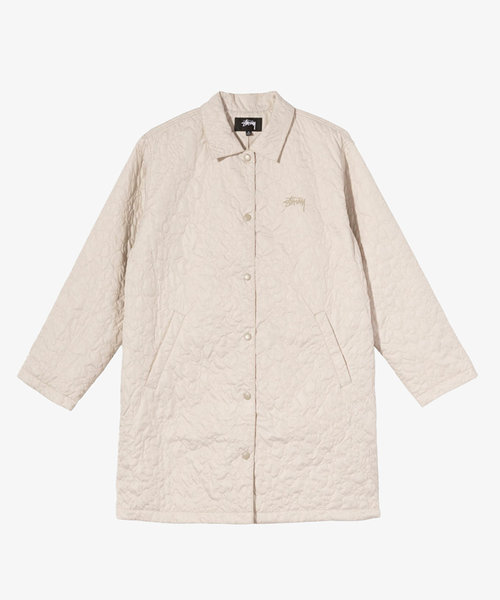 Stussy Ritters Long Quilted Jacket Stone