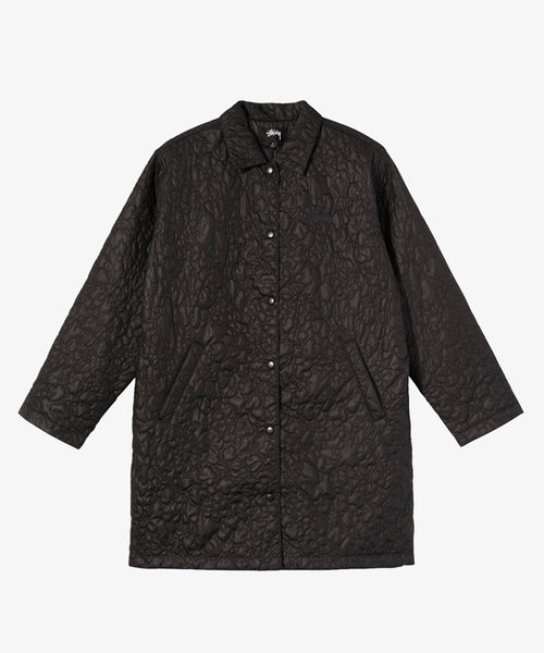 Stussy Ritters Long Quilted Jacket Black