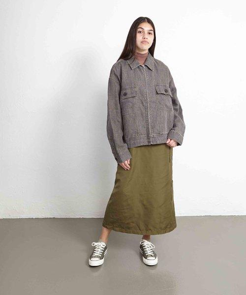 Stussy Boxy Linen Zip Jacket Charcoal