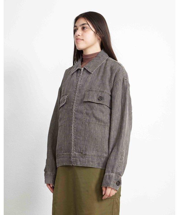 Stussy Stussy Boxy Linen Zip Jacket Charcoal