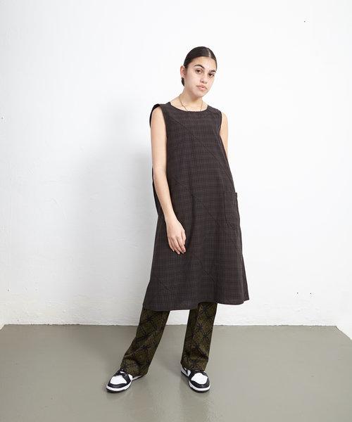 EG Wrap Dress Dark Olive Cotton Pintuck
