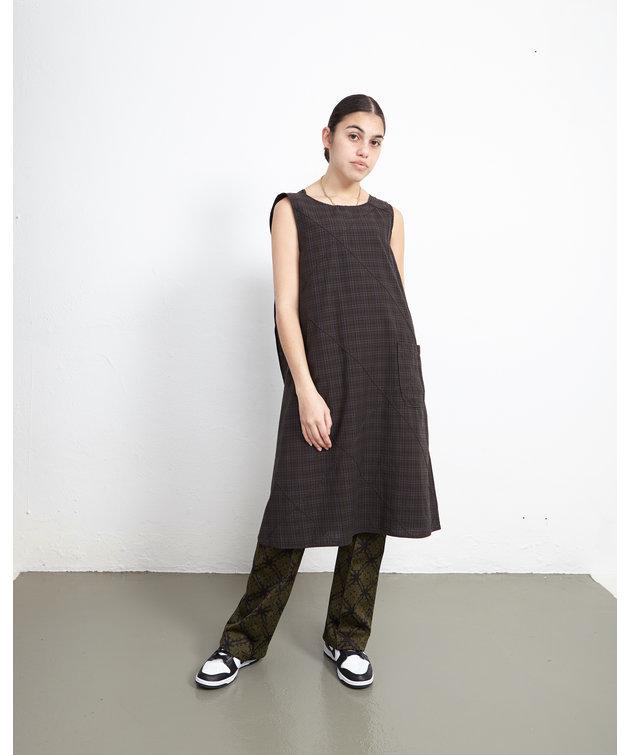 Engineered Garments EG Wrap Dress Dark Olive Cotton Pintuck