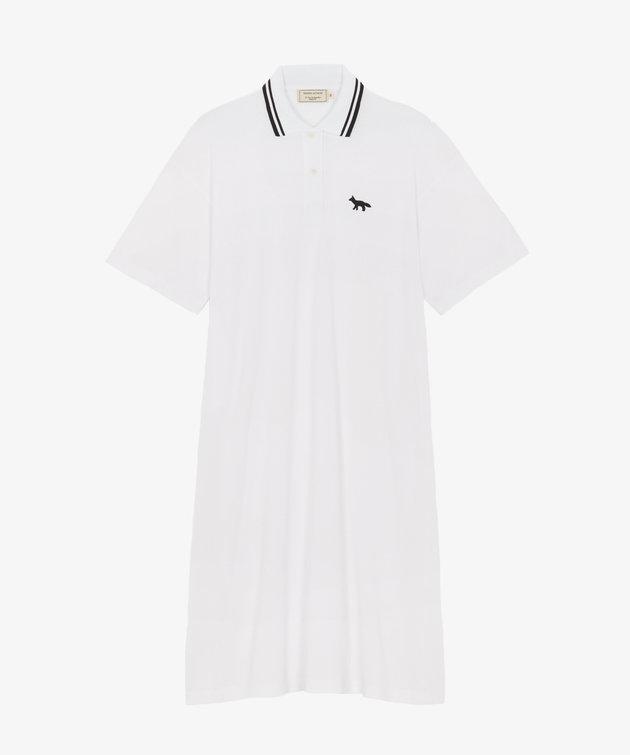 Maison Kitsune Kitsuné Pique Straight Polo Dress White