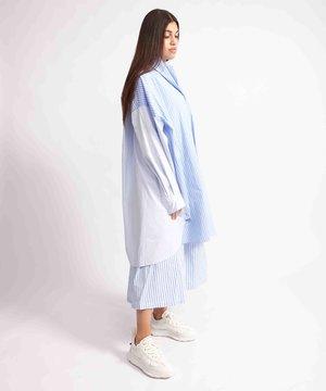 Maison Kitsune Kitsuné Oversized Back Pleats Dress Blue Stripe