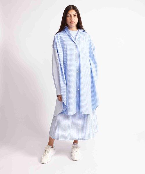 Kitsuné Oversized Back Pleats Dress Blue Stripe