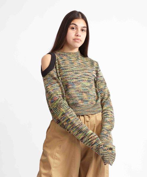 Aries Shoulder Hole Space Dye Knit Black