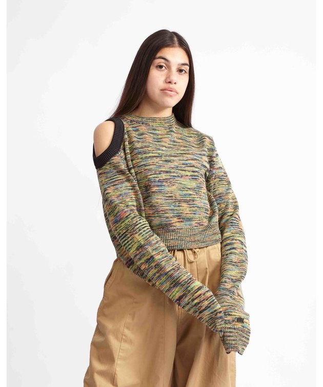 Aries Aries Shoulder Hole Space Dye Knit Black