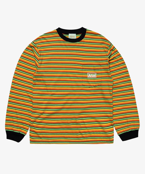 Aries Striped Pocket Tee Yellow