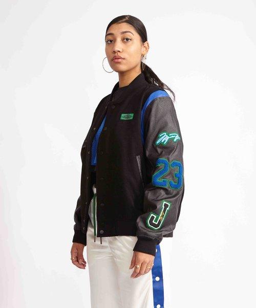 Jordan X Aleali May Varsity Jacket Black/Game Royal/Pine Green